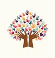 hand print ethnic tree symbol of culture diversity vector image