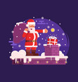 santa claus and chimney christmas scene vector image