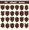 24 shield icons Set of different shield shapes vector image