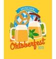 Beer mug and pretzel oktoberfest poster vector image