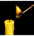 Burning match and candle on black background vector image