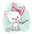 Cute White kitten vector image