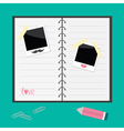 Notebook with spiral blank lined paper pencil clip vector image