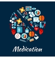 Pill symbol with flat icons of medication vector image