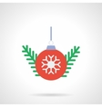 Red Christmas ball flat color icon vector image