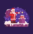 santa claus and chimney christmas scene vector image