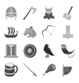 Vikings set icons in monochrome style Big vector image