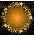 Gold-dark floral lacy circle frame vector image vector image