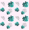 a leaf of monstera and dots pink seamless pattern vector image
