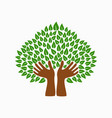 green human hand tree symbol for community help vector image vector image