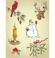set of vintage hand drawn christmas elements vector image vector image