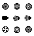black turbines icon set vector image vector image