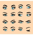 Set of cartoon eyes 2 vector image
