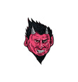 Demon Horns Goatee Head Drawing vector image