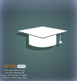 Graduation cap icon On the blue-green abstract vector image