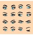 Set of cartoon eyes 2 vector image