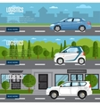Logistics horizontal flyers with car on road vector image