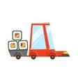 Fast Delivery Takeout Service Red Car With Trailer vector image