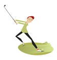 Smiling golfer playing golf vector image