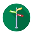 Crossroad sign icon in flat style isolated on vector image