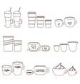 coffee cups and mugs sizes variations outline vector image