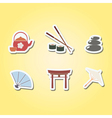 set of color icons with japanese symbols vector image