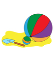 Balls and a children paddle vector image