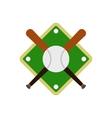 Baseball bats and ball on baseball field icon vector image