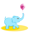 Cute elephant with ballon vector image