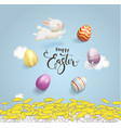 happy easter inscription handwritten with vector image