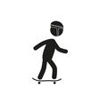 riding skateboard stick figure vector image