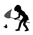 Silhouette Of Girl With Net Catching Butterfly vector image