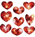 set of geometric polygonal hearts vector image