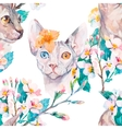 Hand drawn pattern Elegant Sphynx cat and tropical vector image