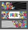 Music party kawaii banners Musical instruments vector image