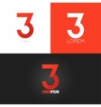 number three 3 logo design icon set background vector image