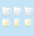 White mugs and glass mugs vector image