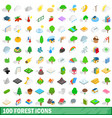 100 forest icons set isometric 3d style vector image