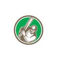 Cricket Player Batsman Batting Circle Retro vector image vector image