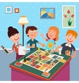 Family Playing Board Game Happy Family Weekend vector image