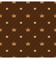 Beige crowns icons on brown background with strips vector image