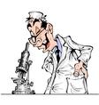 Cheerful cartoon scientist vector image