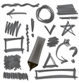 Gray Marker Set of Graphic Signs Arrows Circles vector image
