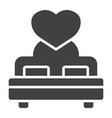 lovers bed with heart glyph icon valentines day vector image