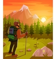 Mountain landscape with tourist on foreground vector image