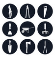 set of round icons garden tools vector image