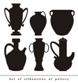 set of silhouettes of antique ceramic ware pottery vector image