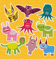 Sticker set Funny monsters collection on Polka dot vector image