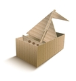 Toy boat in an open cardboard box vector image