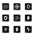 Military shieldd icons set grunge style vector image